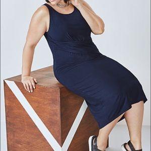 Fabletics Blue Retta Drape Midi Dress